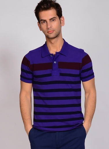 North Of Navy Polo Yaka Tişört Mor